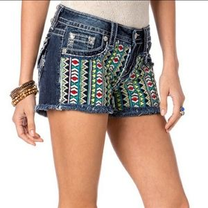 Miss Me Aztec Embroidered Distressed shorts
